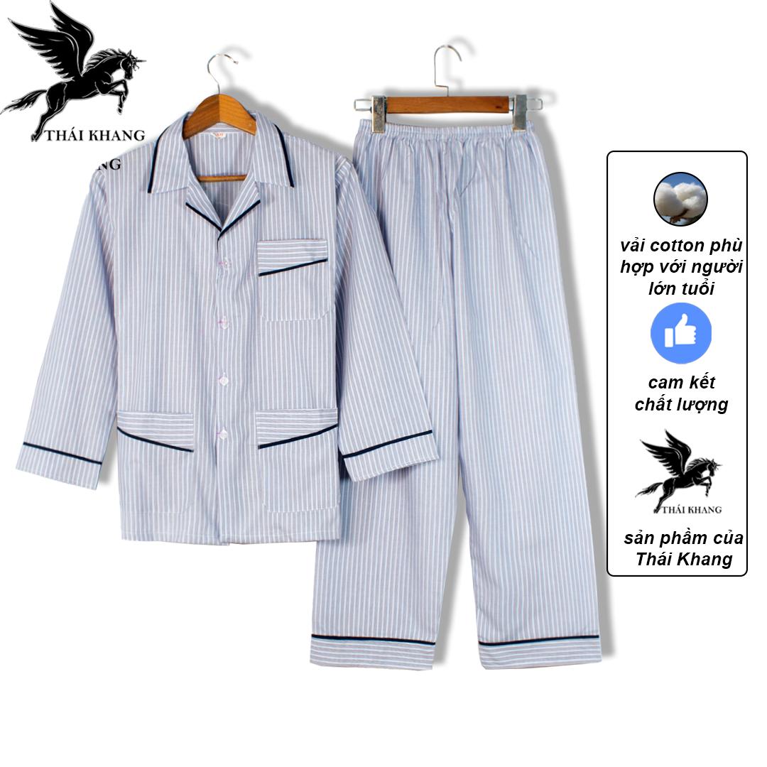 Bộ pijama nam dài tay trung niên vải cotton mặc mát thoải mái cho người già loại bộ đồ trung...