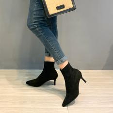 Bốt nữ, bốt cao gót Da lộn Gót nhọn mới Dáng thời trang, cá tính