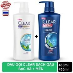 Bộ 2 Chai dầu gội Clear Bạc Hà 480ml và Clear Men 450ml nhập khẩu Thái Lan