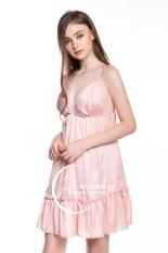 Dreamy – VX04 Váy ngủ lụa cao cấp hai dây nhúng bèo, Váy ngủ lụa cao cấp, váy ngủ nữ, váy ngủ 2 dây, váy ngủ gợi cảm ,váy ngủ sexy,đầm ngủ lụa mặc nhà có bốn màu đỏ đô, trắng, hồng pastel và đen