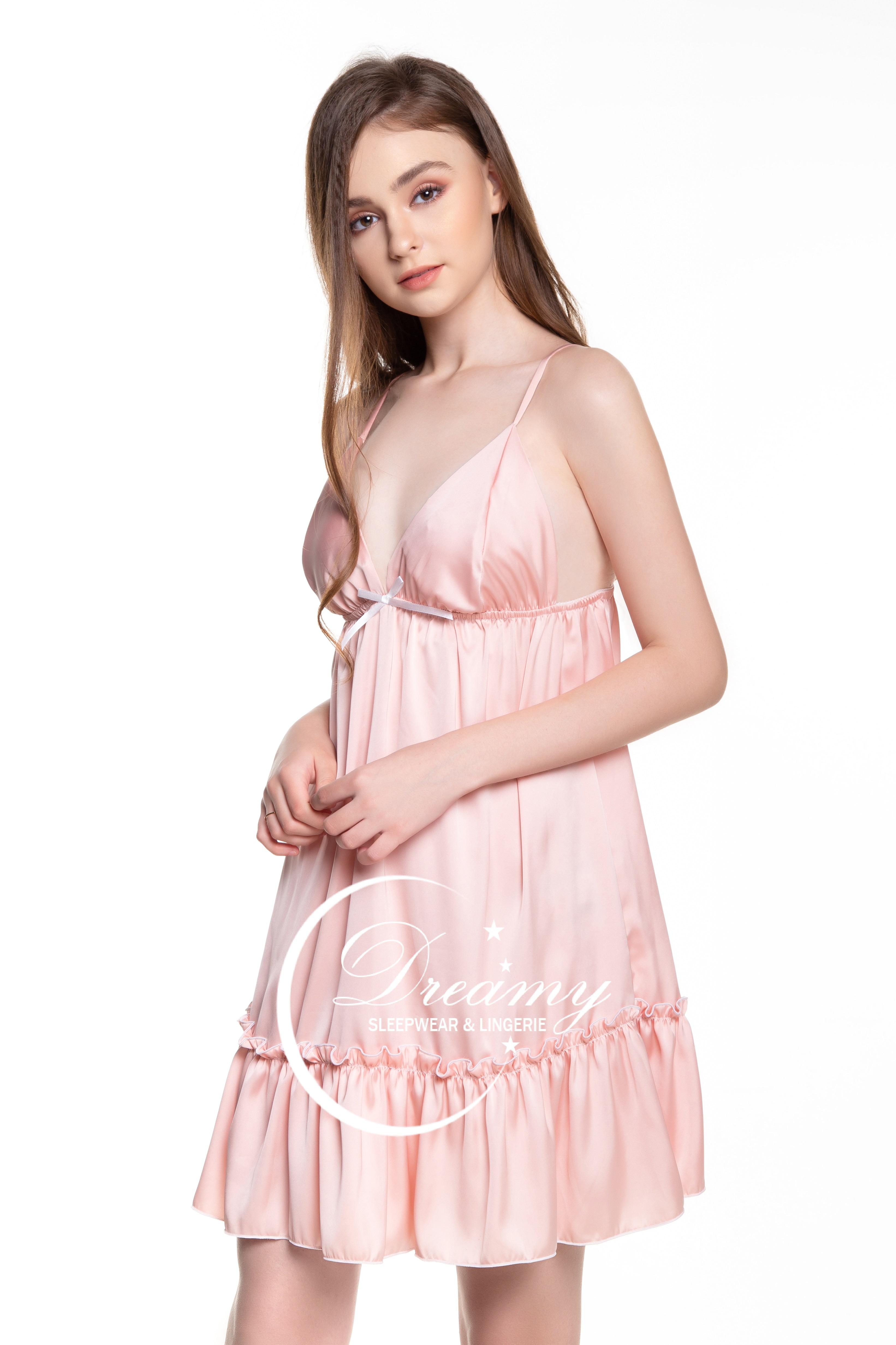 Dreamy - VX04 Váy ngủ lụa cao cấp hai dây nhúng bèo, Váy ngủ lụa cao cấp, váy ngủ nữ,...