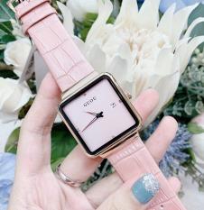 Đồng hồ nữ dây da mặt vuông thời trang phong cách trẻ trung, cá tính GUOU 8179