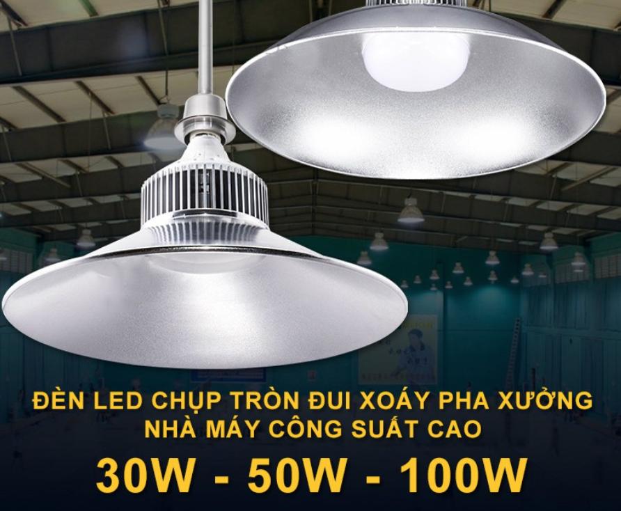 Đèn LED pha xưởng công nghiệp ánh sáng nhà máy đèn chùm chiếu sáng kho trần công suất 30W 50W 100Wsiêu sáng ( sáng trắng )