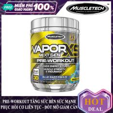 Pre-Workout tăng sức mạnh sức bền trước tập hỗ trợ giảm cân đốt mỡ Vapor X5 của MuscleTech hộp 30 lần dùng cho người tập gym và chơi thể thao – thực phẩm bổ sung