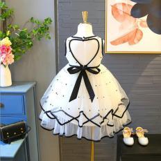 Váy công chúa, đầm công chúa cho bé gái đáng yêu phối viền đen trắng