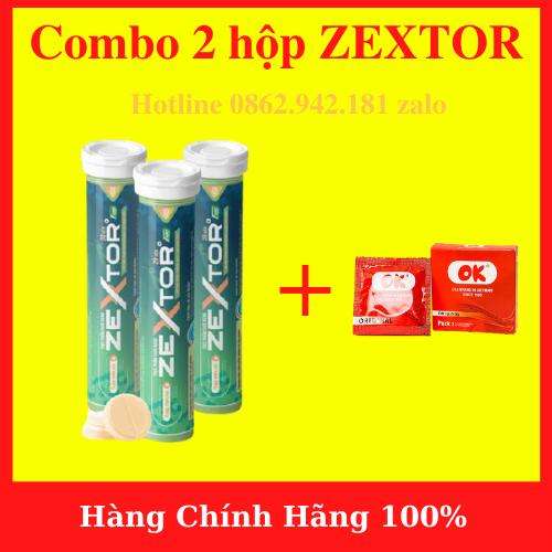 Combo 2 hộp Viên sủi ZEXTOR cao cấp tăng cường sinh lý nam mạnh mẽ (hộp 20 viên) + Tặng BCS OK – hàng chính hãng- AN001