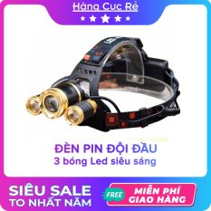 Đèn pin đội đầu 3 bóng LED siêu sáng chiếu xa trăm mét – Đèn pin cao cấp T6 có 4 chế độ, dùng 2 pin sạc 18650 + 1 bộ sạc + 1 dây đai + 1 hộp đựng – Shop Hàng Cực Rẻ
