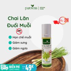 Tinh dầu đuổi muỗi Purevess, hương sả chanh, giúp đuổi muỗi và côn trùng, với thiết kế thanh lăn nhỏ gọn, tiện lợi. 10ml
