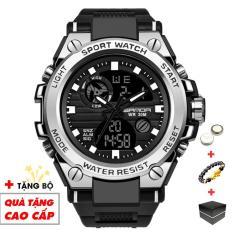 Đồng hồ nam điện tử SANDA thể thao SA01 chống nước chống va đập bền bỉ (Đen Viền Trắng) – Arman Store