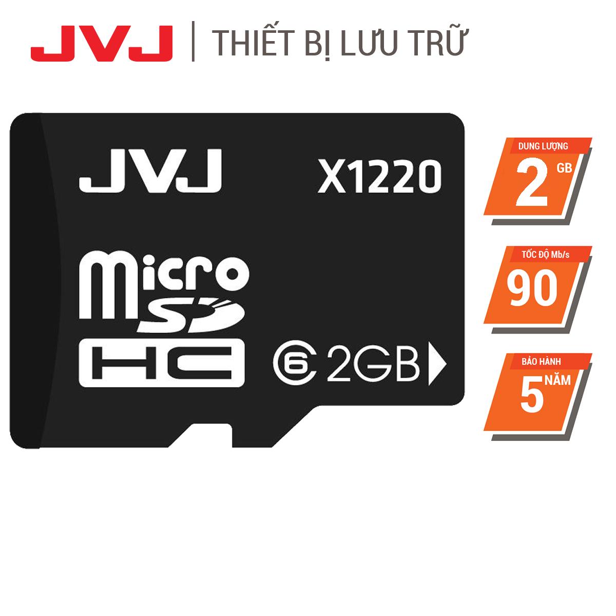 Thẻ nhớ 2G JVJ class 6 microSDHC tốc độ cao – thẻ nhớ chuyên dụng điện thoại, thẻ game, máy tính bảng, loa đài, camera BH 5 năm, 1 đổi 1, Samsung, Oppo, Xiaomi, điện thoại android
