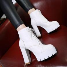 [ Có ảnh thật + video ] Boot nữ buộc dây màu trắng hiện đại cao 12cm GBN1702