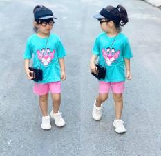 Bộ quần áo cotton năng động, dễ thương cho Bé Gái 9-23kg- Đồ bộ bé gái