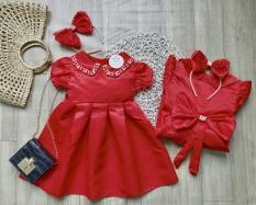 Váy tết cho bé gái công chúa đính cườm có bờm nơ ngọc XHN476