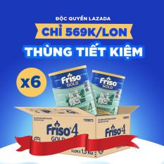 [Trợ ship toàn quốc] 6 lon Sữa Bột Friso Gold 4 1.5kg cho trẻ từ 2-4 tuổi