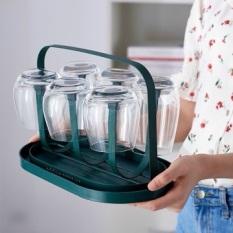 Khay cắm cốc,giá úp cốc sơn tĩnh điện màu xanh cổ vịt sang trọng có khay hấng nước