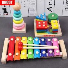 Sét 3 Món Đồ Chơi Montessori BR03T Đàn Xylophone 8 Thanh, Chuỗi Thả Hình Khối Và Con Dâu Uốn Dẻo, Đồ Chơi Gỗ Thông Minh Cho Bé, Đồ Chơi Trẻ Em Benrikids