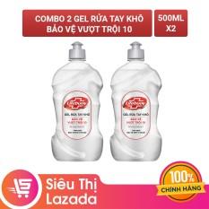 Combo 2 Gel rửa tay khô sạch siêu nhanh Lifebuoy Bảo Vệ Vượt Trội 10 (Chai nắp bạc 500ml)
