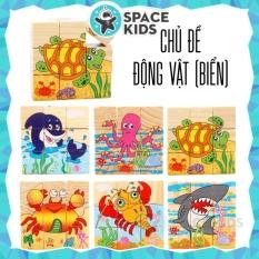 Đồ chơi gỗ thông minh Space Kids Ghép hình gỗ 3d 6 mặt nhiều chủ đề cho bé, chất liệu gỗ tự nhiên, nhiều màu sắc