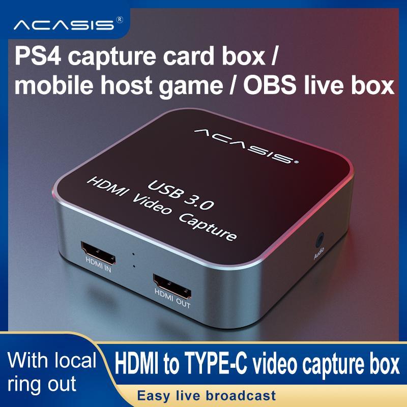 Thẻ Ghi Video HDMI Sang USB 3.0 HD Đầu Vào HDMI Sang Đầu Ra HDMI Hộp Ghi Trò Chơi HD...