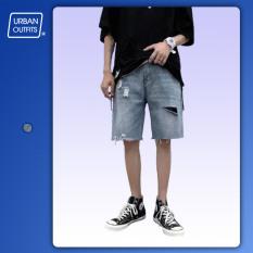 Quần Sọt Jean Nam URBAN OUTFITS Kiểu Rách Ống Suông Ngắn Co Giãn 100% Cotton Cao Cấp Short Jeans Bò OUTFIT QSR05
