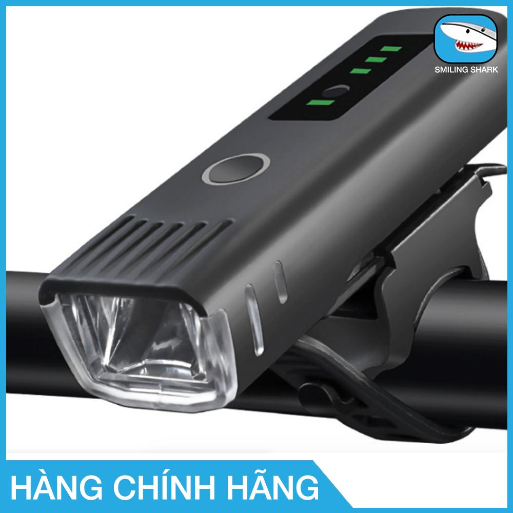Đèn pha xe đạp Smiling Shark chống nước siêu sáng, cảm biến thông minh, sạc usb, nhỏ gọn, dễ dàng lắp đặt