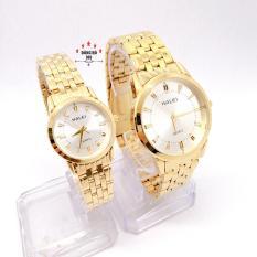 Cặp Đồng hồ đôi Nam Nữ Halei 502 dây thép không gỉ ( HL502 Dây vàng ) – TẶNG 1 vòng tỳ hưu phong thuỷ + Pin Nhật