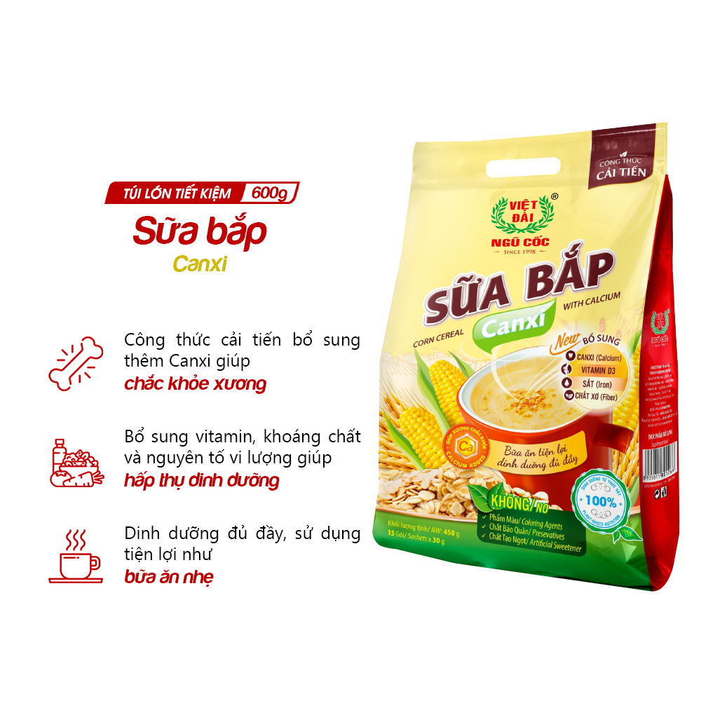 Bột ngũ cốc Sữa bắp Canxi Việt Đài túi 600g