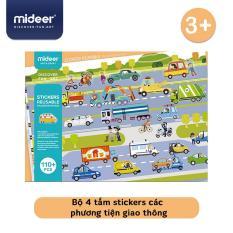 Bộ 4 tấm stickers các phương tiện giao thông của Mideer