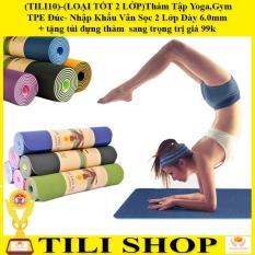 (LOẠI TỐT 2 LỚP)Thảm Tập Yoga,Gym TPE Đúc- Nhập Khẩu Vân Sọc 2 Lớp Dày 6.0mm + tặng túi đựng thảm và dây buộc thảm sang trọng trị giá 99k (Nhiều Màu)-Được bán bởi TILI10 SHOP