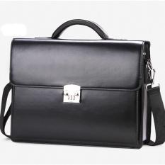 Túi xách cặp da đựng laptop công sở T23 39x30x10cm khóa số (Nâu-Đen)
