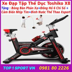 Xe đạp tập thể dục tại nhà | xe đạp tập gym | xe đạp tập thể thao tại nhà Toshiko X8 GH709 chính hãng – tặng Đồng hồ 6 chỉ số + cảm biến nhịp tim + bình nước thể thao Xsport – bảo hành 36 tháng