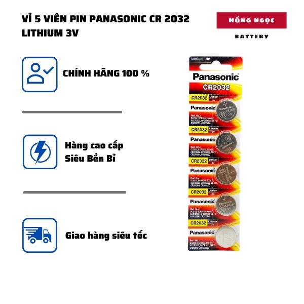 Pin CR2032 Panasonic – combo 5 Viên Made in Indonesia