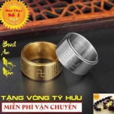 Nhẫn xoay BÁT NHÃ TÂM KINH khắc chữ VẠN không đen xoay 360 độ – Phong Thủy Titan ( Vàng – Bạc ) + Tặng vòng tỳ hưu phong thủy
