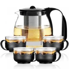 Ấm pha trà – Bộ Bình Lọc Trà Thủy Tinh Kèm 4 Ly Lưới Lọc Inox 304 Tiện Dụng – HÀNG CHUẨN, UY TÍN 1 ĐỔI 1
