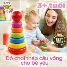 Tháp cầu vồng cho trẻ sơ sinh, trẻ nhỏ, bé trai hoặc bé gái /Đồ chơi gỗ giáo dục trí tuệ tháp vòng tròn