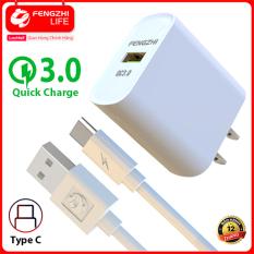 Combo bộ sạc nhanh, củ sạc nhanh 18W và cổng USB QC3.0 kèm dây sạc HÀNG CHÍNH HÃNG, bảo hành 12 tháng FENGZHI LIFE FC273