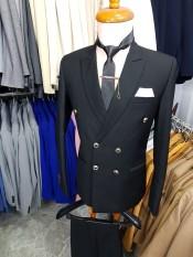 Bộ vest nam ôm body kiểu 6 nút chất vải dày mịn (áo vest+quần+cà vạt+nơ)