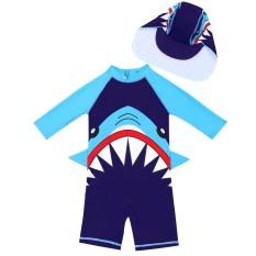 [Tặng nón chống nắng] Đồ bơi trẻ em bé trai, hình cá mập, chống nắng, giữ nhiệt, co giãn tốt