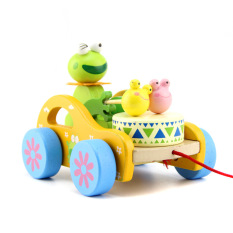 Đồ chơi xe kéo đánh trống bằng gỗ hình con Gấu -Thỏ – Ếch