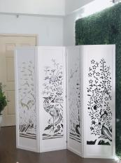 Bộ vách Tứ Quý: Từng-Cúc-Trúc-Mai, màu trắng thanh lịch 180x200cm (ảnh chụp thật) + Tặng kèm chân vách – HOME DECOR