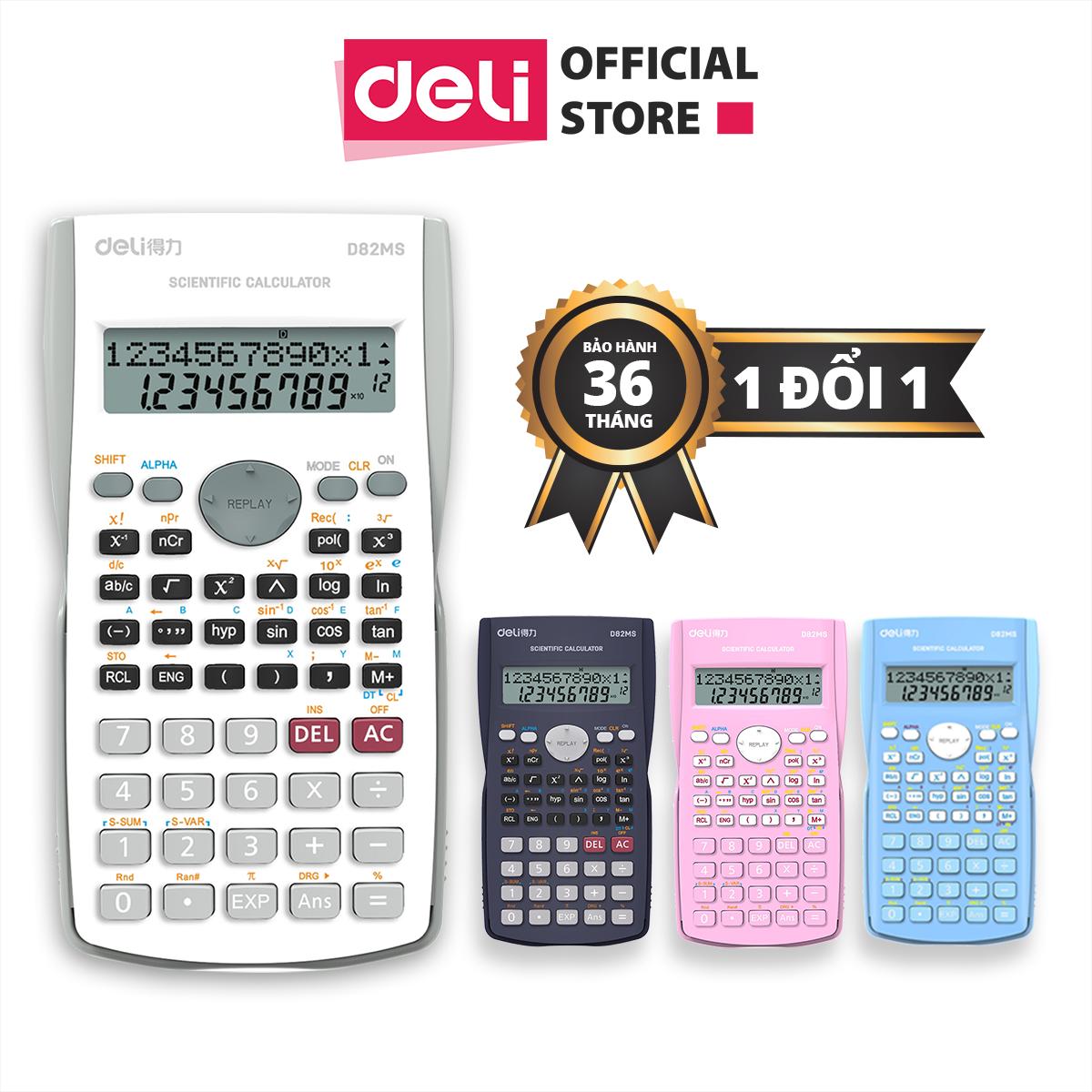 Máy tính kỹ thuật Deli – Đen/Xanh dương/Hồng/Trắng – D82MS