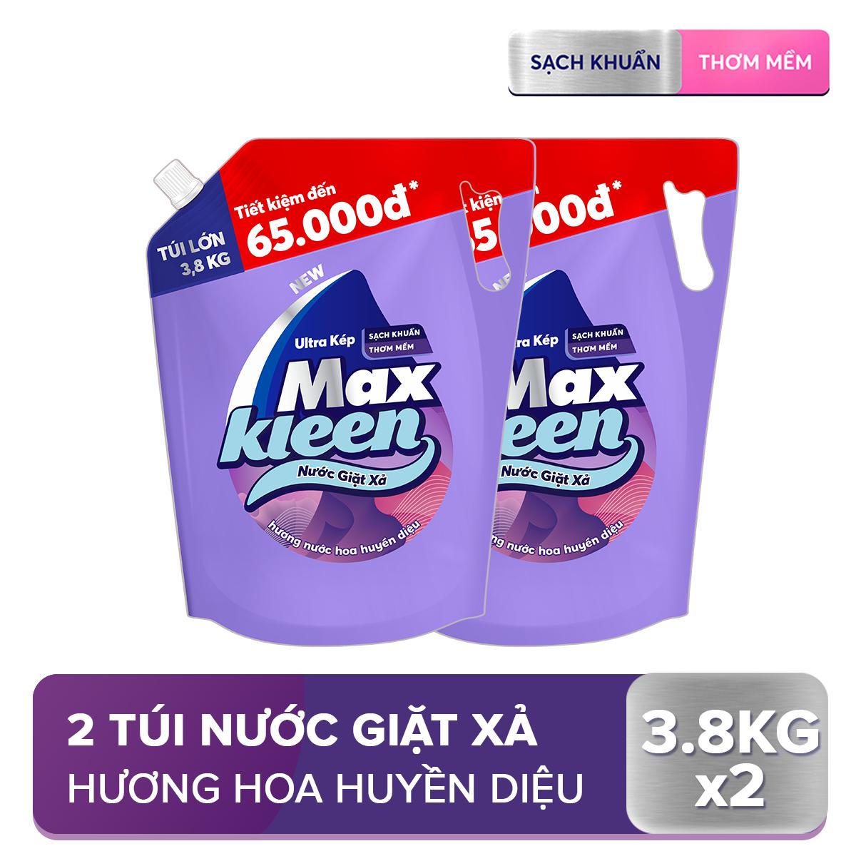 Combo 2 Túi Nước Giặt Xả Maxkleen Hương Nước Hoa Huyền Diệu (3.8kg/túi)