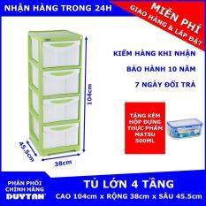 Tủ nhựa Duy Tân Lớn 4 tầng Tặng Hộp đựng thực phẩm cao cấp MATSU Duy Tân 500ml