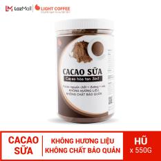 Bột CACAO SỮA hòa tan 3 in 1 Light Cacao đậm đà thơm ngon,dùng pha uống liền, đặc biệt không pha trộn hương liệu, 100% từ cacao nguyên chất – hũ 550g