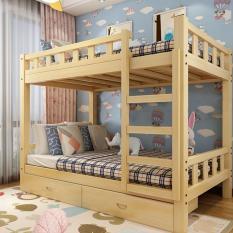 Giường tầng gỗ mộc giường đôi cao thấp trẻ em người lớn căn hộ nhỏ, ký túc xá, phòng trọ