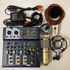 BỘ combo míc THU ÂM hát karaoke online BM900 BÀN TRỘN ÂM THANH MIXER YAMAHA F4 USB tặng tai nghe