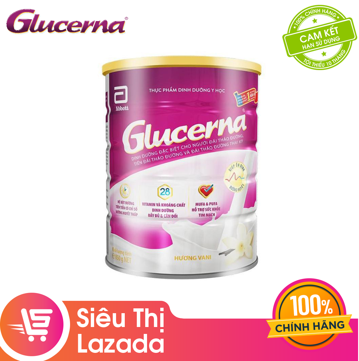 [GIẢM 40K ĐƠN 1,2TR] Lon sữa bột Abbott Glucerna Hương Vani 850gram công thức độc đáo và hệ dưỡng chất đặc chế Triple Care bổ sung dinh dưỡng