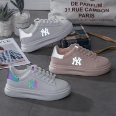 Giày sneaker nữ phản quang chữ N.YY đẹp HAPU (trắng cầu vồng, hồng, kem)