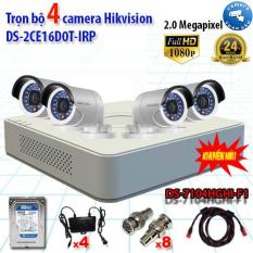 Trọn bộ 4 camera Hikvision DS-2CE16D0T-IRP (2MP) + DS-7104HGHI-F1