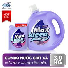 Combo Nước giặt xả Maxkleen Hương Nước Hoa Huyền Diệu: 1 Chai 2.4kg + 1 Túi 600g